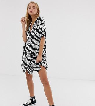 Reclaimed Vintage inspired oversized shirt dress in mono animal print