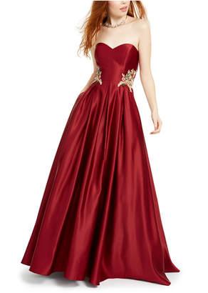 Blondie Nites Juniors' Strapless Floral-Applique Gown