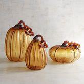 Pier 1 Imports Large Amber Crackle Art Glass Pumpkins