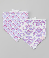 Hudson Baby Purple & White Brocade Bandanna Bib - Set of Two