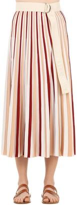 MONCLER GENIUS Plisse Striped Viscose Skirt