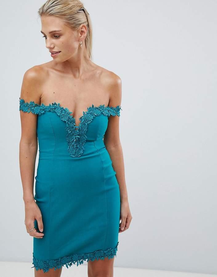Rare London crochet trim bardot dress