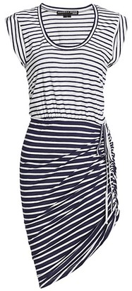 Veronica Beard Tamri Stripe Asymmetric T-Shirt Dress