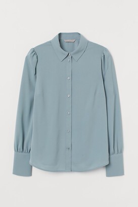 H&M Puff-sleeved Blouse - Turquoise