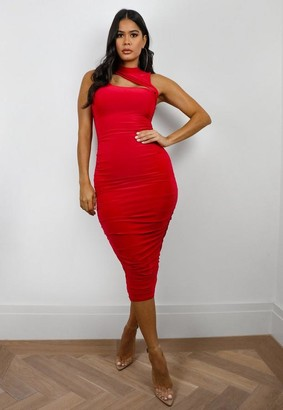 Missguided High Neck Slinky Cut Out Midaxi Dress