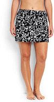 Classic Women's Plus Size SwimMini Skirt Control-Black/White Etched Scroll