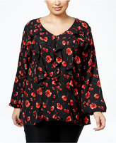 NY Collection Plus Size Ruffled Floral-Print Blouse