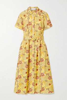 Rebecca Vallance Sahara Belted Floral-print Linen-blend Midi Dress - Yellow