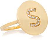Jennifer Meyer Letter 18-karat Gold Diamond Ring - B 6