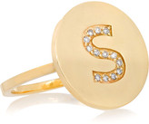 Jennifer Meyer Letter 18-karat Gold Diamond Ring - M 6