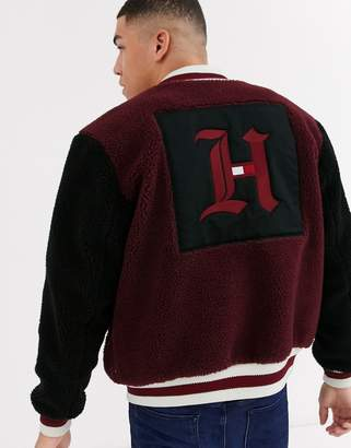 Tommy Hilfiger x Lewis Hamilton Capsule polar fleece bomber jacket in burgundy-Red