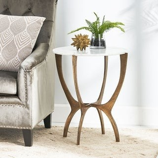 Christopher Knight Home Lexie Indoor Marble and Aluminum Handcrafted Side Table