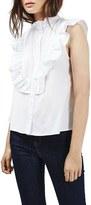 Topshop Women's Ruffle Trim Sleeveless Poplin Shirt