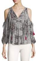 Rebecca Minkoff Cappy V-Neck Cold-Shoulder Printed Top