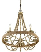 Filament Design Darla 5-Light Chandelier in Natural Wood
