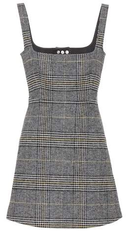 ALEXACHUNG Plaid minidress