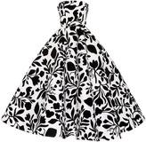 Oscar de la Renta Strapless Floral Teal Length Gown