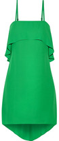 Alice + Olivia Alice Olivia - Reese Layered Asymmetric Crepe De Chine Mini Dress - Green