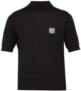Prada Logo Jacquard High Neck Wool Sweater - Mens - Black