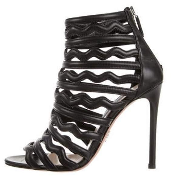 Prada Leather Multi-Strap Sandals Black Leather Multi-Strap Sandals