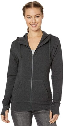 Pact Organic Cotton Lightweight Hoodie (Charcoal Heather) Women's Clothing