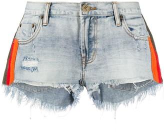 One Teaspoon Montana stripe detail denim shorts