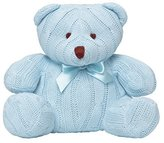 Elegant Baby 100% Cotton, Cable Knit Baby's First Teddy Bear with Bow in Blue by