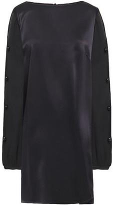 Adriana Degreas Button-embellished Silk-satin And Chiffon Mini Dress