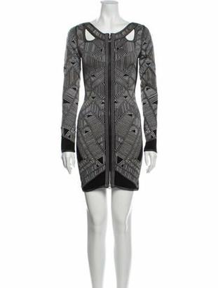 Herve Leger Printed Mini Dress Grey