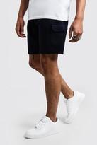 boohoo Mens Navy Mid Length Cargo Jersey Shorts, Navy