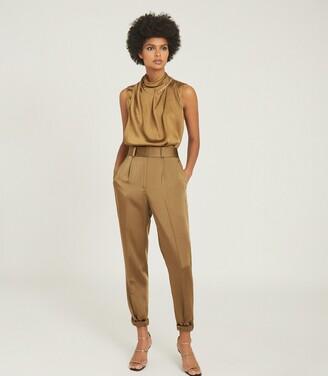 Reiss Freya - Chain Detail Sleeveless Top in Khaki