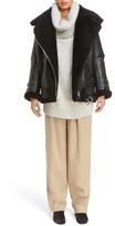 Acne Studios Women's Velocite Genuine Shearling Oversize Moto Jacket