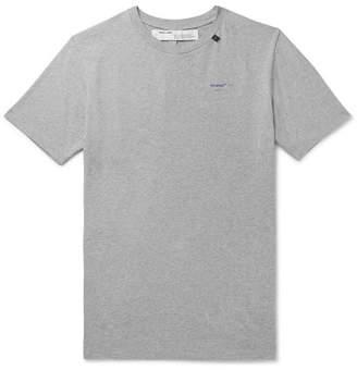 Off-White Off White Slim-Fit Logo-Print Melange Cotton-Jersey T-Shirt