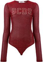 Gcds - logo print metallic bodysuit - women - Polyamide/Polyester - S