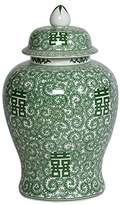 """Ethan Allen 18"""" Green and White Temple Jar"""