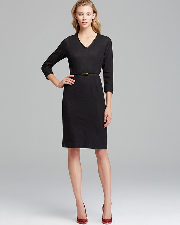 Jones New York Collection Faux Leather Trimmed Dress