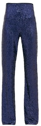 Norma Kamali High-rise Sequinned Flared Trousers - Womens - Navy