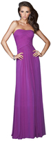 La Femme Strapless Ruched Long Gown in Electric Purple 18277