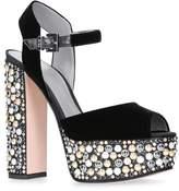 Gina Embellished Velvet Sia Platform Sandals