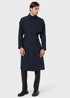Giorgio Armani Double-Breasted Trench Coat In Washed, Basketweave Cupro