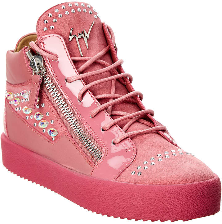 Giuseppe Zanotti Embellished Patent & Suede High-Top Sneaker