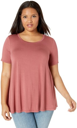 Daily Ritual Amazon Brand Plus Size Jersey Short-sleeve Scoop Neck Swing T-shirt Dusty Pink 2X