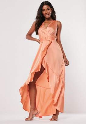Missguided Satin Wrap Buckle Maxi Dress