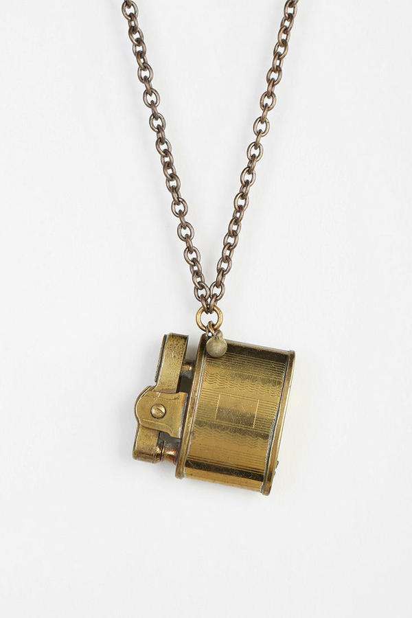 Urban Outfitters Lux Revival X Urban Renewal '40s Brass Lighter Necklace