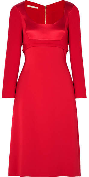 Antonio Berardi Wool-crepe, Cady And Satin Midi Dress - Red