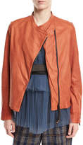 Brunello Cucinelli Collarless Asymmetric-Zip Lamb Leather Jacket