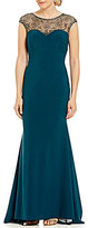Xscape Evenings Cap-Sleeve Beaded Illusion Neck Gown