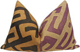 One Kings Lane Vintage Orchid & Onyx Kuba & Chambray Pillow