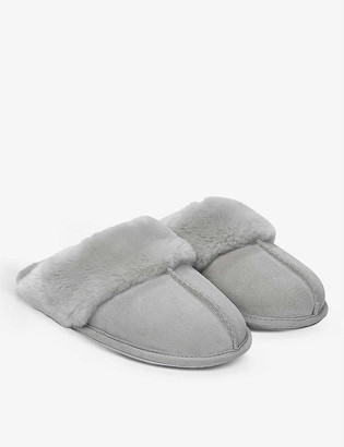 The White Company Suede faux fur-lined mule slippers
