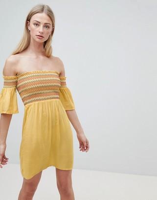 Brave Soul Sunny Bardot Dress with Multi-Colour Shirring-White